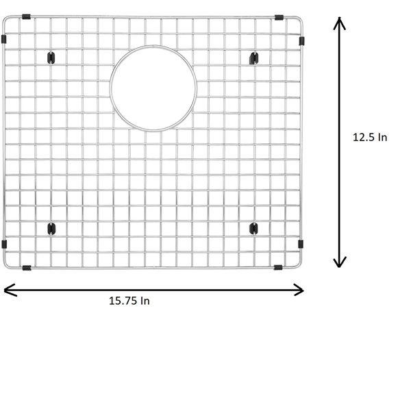 Grille d'évier en acier inoxydable poli Elegant par Elegant Stainless de 12,50 po x 15,75 po