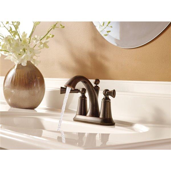 Robinet de lavabo central Wynford à 2 poignée de Moen, WaterSense, Nickel brossé, drain compris