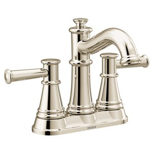 Robinet de lavabo central 4 po Belfield à 2 poignée de Moen, WaterSense, nickel poli, drain compris