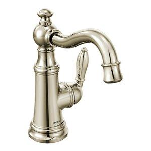 Robinet de lavabo Weymouth à 1 poignée de Moen, 1 trou, WaterSense, nickel poli (drain compris)