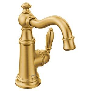 Robinet de lavabo Weymouth à 1 poignée, 1 trou, WaterSense, or brossé, de Moen (drain compris)