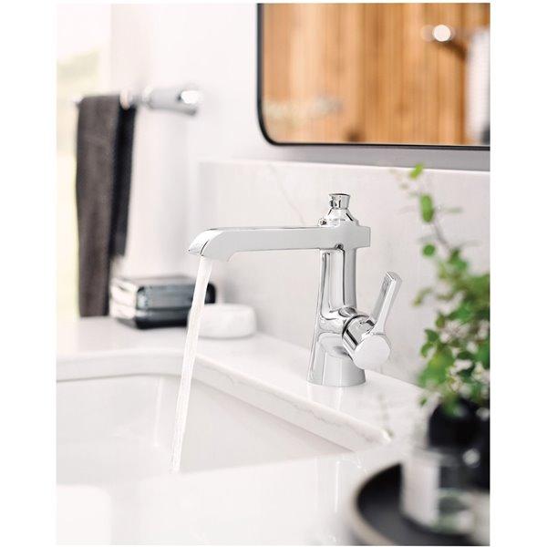 Robinet de lavabo Flara à 1 poignée de Moen, 1 trou, WaterSense, chrome (drain compris)