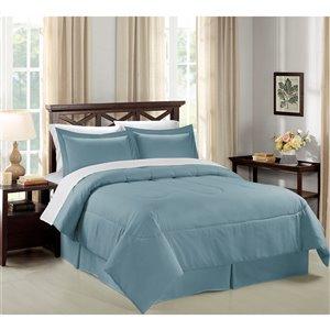 Ensemble de couette 8 pièces de Swift Home bleu clair pour très grand lit