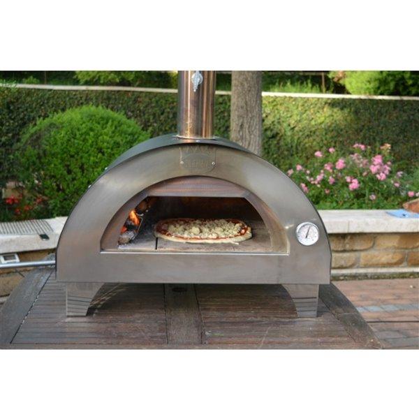 Four à pizza au bois en acier inoxydable et brique réfractaire Clemen de Clementi, 24 po x 16 po, argent
