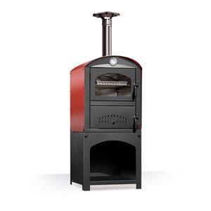 Four à pizza au bois en acier inoxydable et brique réfractaire Piccolo de Clementi, 18 po x 20 po, rouge