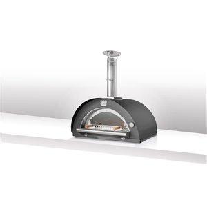 Four à pizza au bois en acier inoxydable et brique réfractaire Family de Clementi, 24 po x 31 po, noir