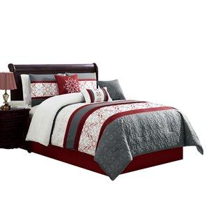 Ensemble de couette rouge et gris par Myne, grand lit, 7 mcx