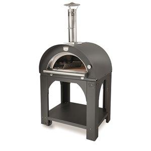 Four à pizza au bois en acier inoxydable et brique réfractaire Pulcinella de Clementi, 31 po x 40 po, argent