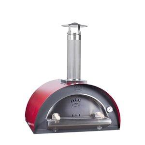 Four à pizza au bois en acier inoxydable et brique réfractaire Family de Clementi, 24 po x 24 po, rouge