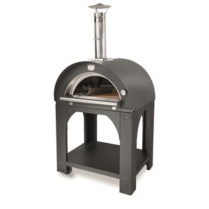 Four à pizza au bois en acier inoxydable et brique réfractaire Pulcinella de Clementi, 24 po x 31 po, argent