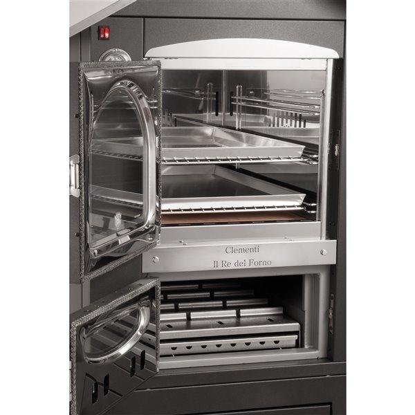Four à pizza au bois en acier inoxydable et brique réfractaire Smile de Clementi, 16 po x 20 po, cuivre