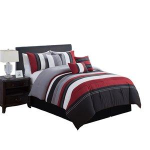Ensemble de couette à rayures grises et rouges par Myne, très grand lit, 7 mcx