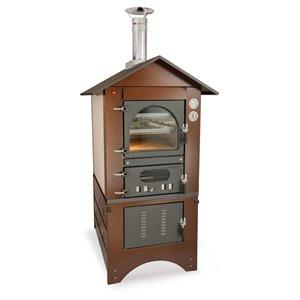 Four à pizza au bois en acier inoxydable et brique réfractaire Master de Clementi, 18 po x 31 po, cuivre