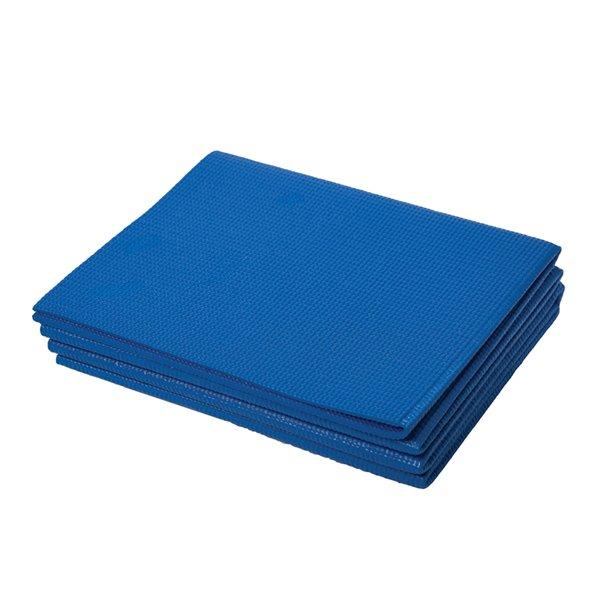 Tapis pliant de yoga antidérapant en plastique antimicrobien de Marin Collection, 24 po x 66 po, bleu