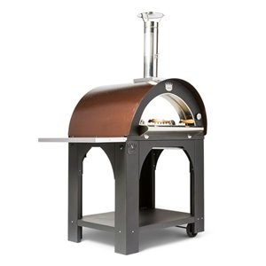 Four à pizza au bois en acier inoxydable et brique réfractaire Family de Clementi, 31 po x 31 po, cuivre