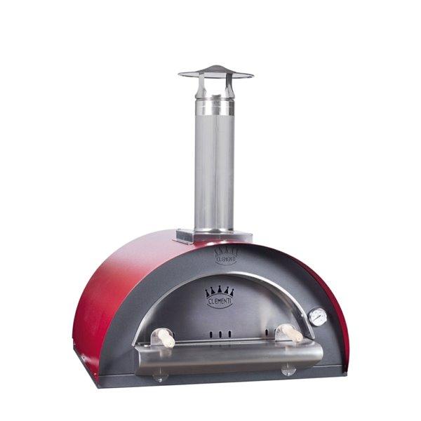 Four à pizza au bois en acier inoxydable et brique réfractaire Family de Clementi, 31 po x 40 po, rouge