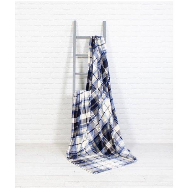 Couverture en polyester bleu 60 po x 70 po par Marin Collection