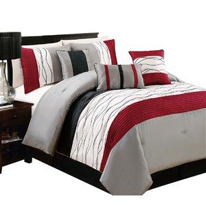Ensemble de couette à rayures rouges et grises par Myne, très grand lit, 7 mcx