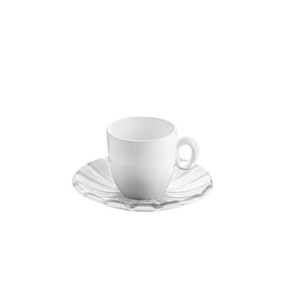 Tasses à espresso avec soucoupes Grace transparentes 3 oz liq par Guzzini, ens. de 2