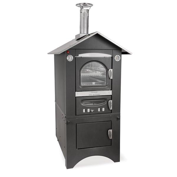 Four à pizza au bois en acier inoxydable et brique réfractaire Smart de Clementi, 18 po x 31 po, noir