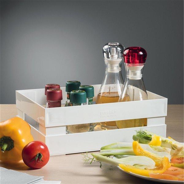 Bac en plastique Kitchen Active blanc 8,9 po l. x 3,2 po h. x 6 po p. de Guzzini