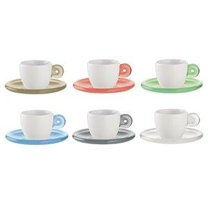 Tasses à espresso avec soucoupes Gocce multicolores 3 oz liq par Guzzini, ens. de 6