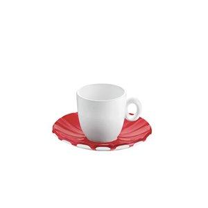 Tasses à espresso avec soucoupes Grace rouges 3 oz liq par Guzzini, ens. de 2