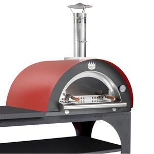 Four à pizza au bois en acier inoxydable et brique réfractaire Pizza Party de Clementi, 24 po x 31 po, rouge