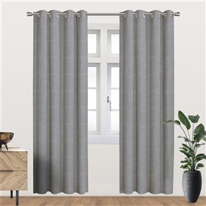 Panneau de rideau simple occultant gris en polyester avec doublure thermique, 84 po, par Myne