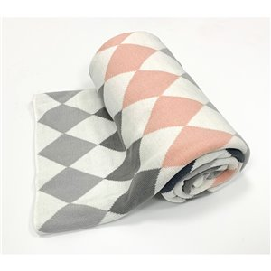 Myne Pink and Grey 50-in x 60-in Cotton Throw