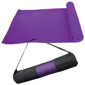 Marin Collection 24-in x 66-in Purple Antimicrobial Plastic Non-Slip Yoga Mat with Carrying Straps