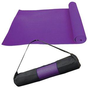 Tapis de yoga antidérapant en plastique antimicrobien avec sangles de transport de Marin Collection, 24 po x 66 po, violet