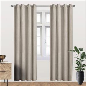 Panneau de rideau simple occultant beige en polyester avec doublure thermique, 95 po, par Myne