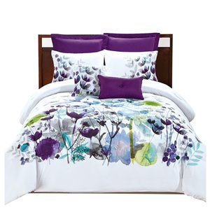 Ensemble de couette floral blanc par Myne, très grand lit, 7 mcx