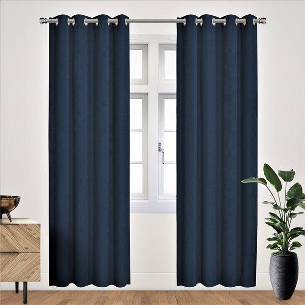 Panneau de rideau simple occultant bleu en polyester avec doublure thermique, 84 po, par Myne
