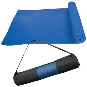 Marin Collection 24-in x 66-in Blue Antimicrobial Plastic Non-Slip Yoga Mat with Carrying Straps