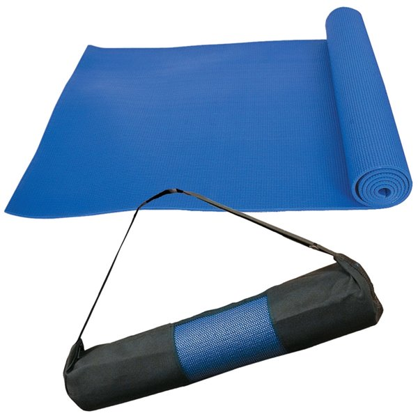 Tapis de yoga antidérapant en plastique antimicrobien avec sangles de transport de Marin Collection, 24 po x 66 po, bleu