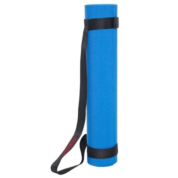 Tapis de yoga antidérapant en plastique/antimicrobien avec sangles de transport de Marin Collection, 24 po x 66 po, bleu