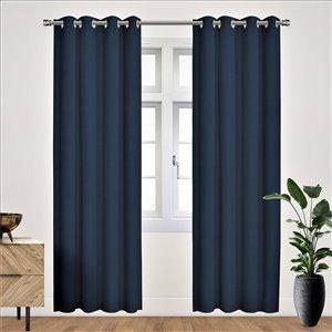 Panneau de rideau simple occultant bleu en polyester avec doublure thermique, 95 po, par Myne