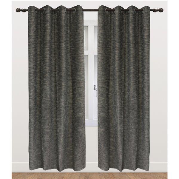 Panneau de rideau simple occultant noir en polyester avec doublure thermique, 95 po, par Myne