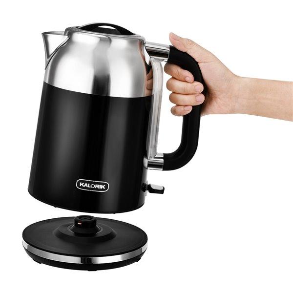 Bouilloire électrique rétro de Kalorik, 1,7 L, 7 tasses, noir