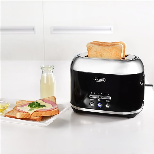 Grille-pain à 2 tranches rétro de Kalorik, 1000 W, noir