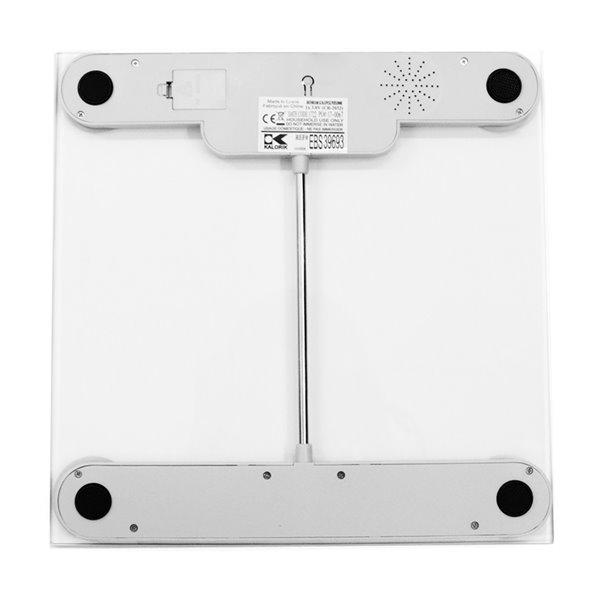 Pèse-personne numérique de salle de bains de Kalorik, 330-lb, verre, argent