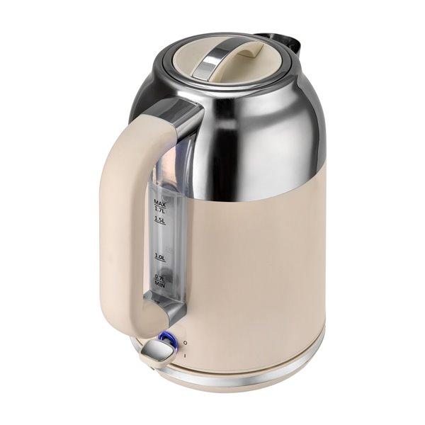 Bouilloire électrique rétro de Kalorik, 1,7 L, 7 tasses, crème