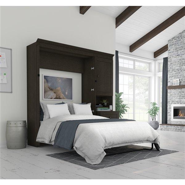 Grand lit escamotable gris foncé Versatile de Bestar avec rangement intégré