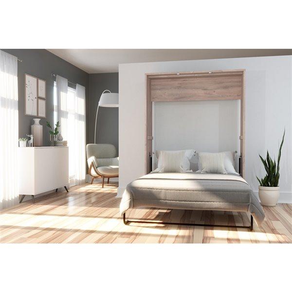 Bestar Cielo Rustic Brown & White Full Murphy Bed