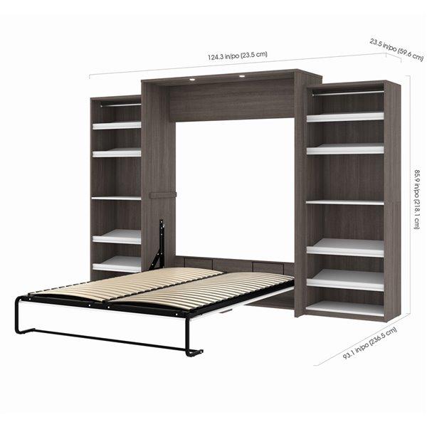 Grand lit escamotable Cielo de Bestar avec rangement intégré (gris écorce et blanc)