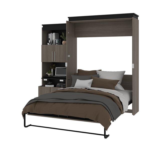 Grand lit escamotable Orion de Bestar avec rangement intégré (graphite et gris)