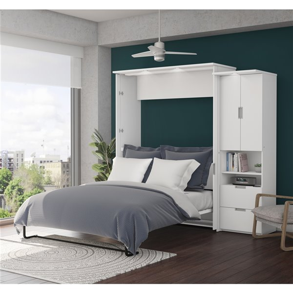 Grand lit escamotable Lumina de Bestar et rangement intégré, blanc