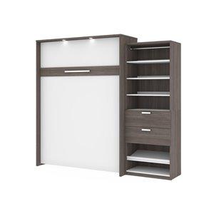 Grand lit escamotable Cielo de Bestar avec rangement intégré (blanc et gris écorce)